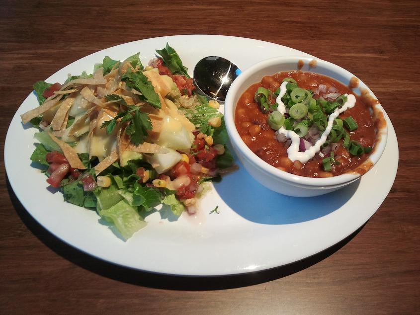 Veggie Grill soup and salad