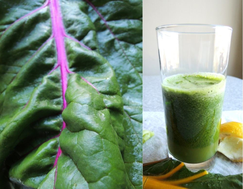 Chard, pear, lemon, and cilantro juice