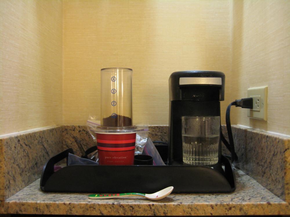 Aeropress coffee while traveling