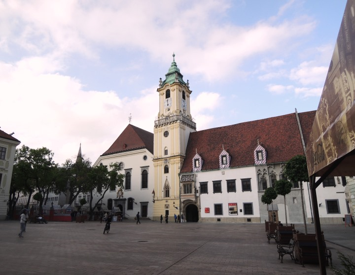 "Bratislava's Old Town Hall in the Hlavné námestie (""Main Square"")"