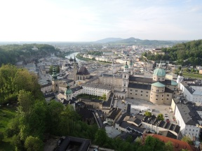 View of springtime Salzburg from the fortress.