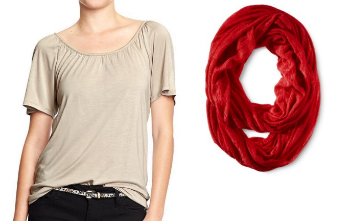 Old Navy Soy Latte Boho shirt & Target red infinity scarf