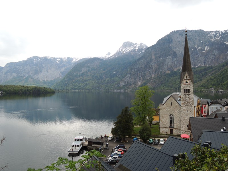 Evangelical Church of Hallstatt and ferry